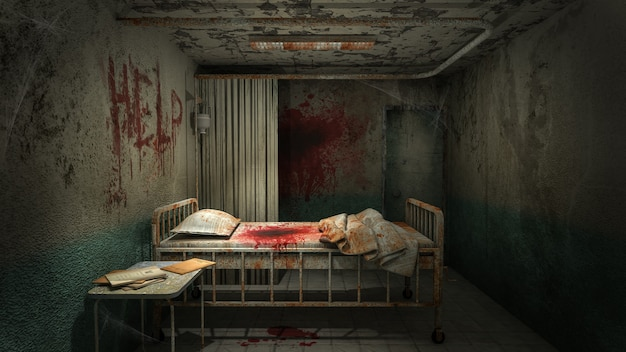 혈액 .3d 렌더링과 함께 병원의 공포와 소름 끼치는 병실