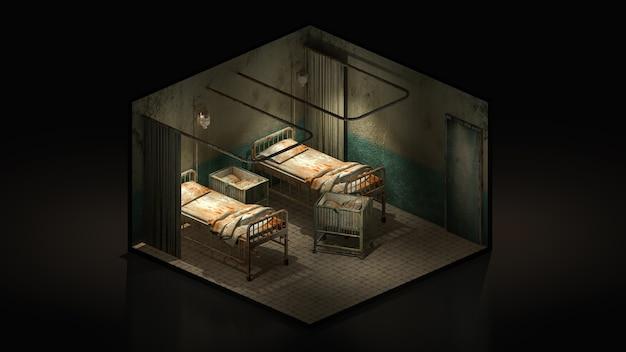 Ужас и жуткая палата в больнице с инвалидной коляской., иллюстрация 3d isomatric.