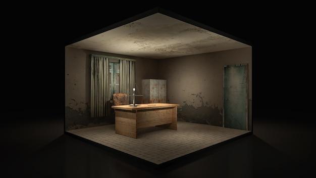 Ужас и жуткая рабочая комната в больнице. 3d-рендеринг., 3d иллюстрации.