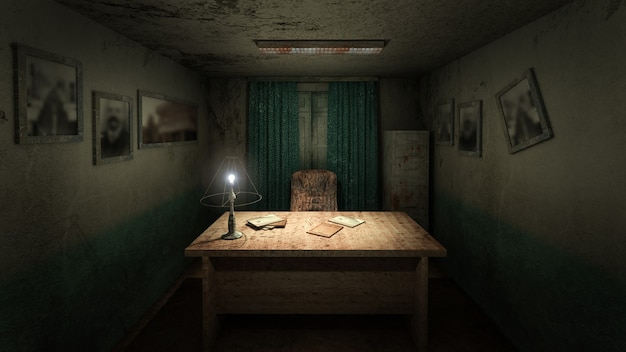 Ужас и жуткая рабочая комната в больнице. 3d-рендеринг