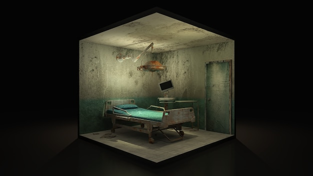 Horror and creepy abandoned operating room in the hospital, 3d illustration.