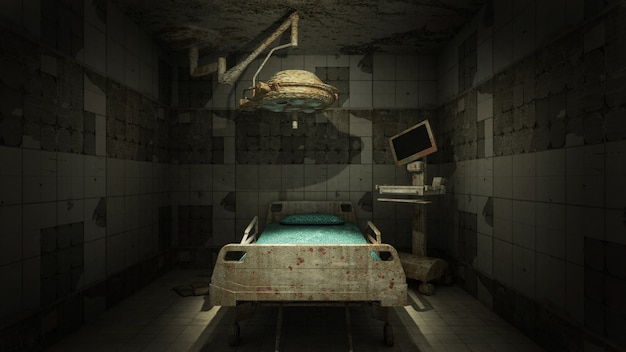 Horror and creepy abandoned operating room in the hospital