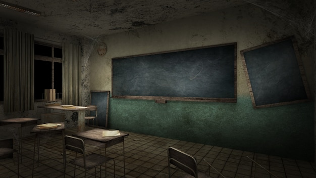 Horror and creepy classroom in the school 3d rendering
