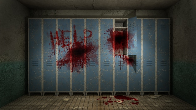 Horror and creepy locker room in the hospital with blood 3d rendering