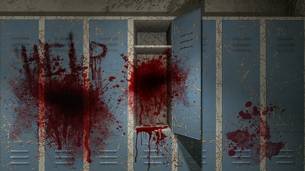 Horror and creepy locker room in the hospital with blood