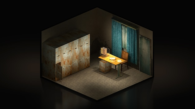 Horror and creepy mortuary in the hospital .3d rendering, 3d illustration isomatric.