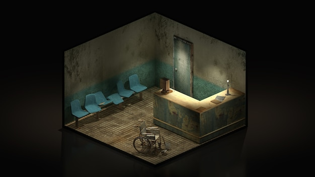 Horror and creepy seat waiting in front of the examination room in hospital 3d illustration
