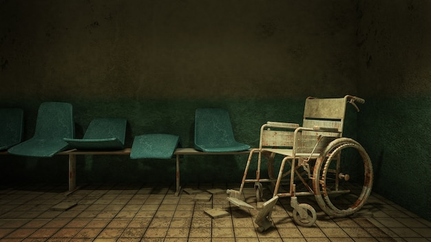 Horror and creepy walk way and wheelchair in front of the examination room in the hospital.
