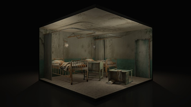 Horror and creepy ward room in the hospital with wheelchair, 3d illustration.