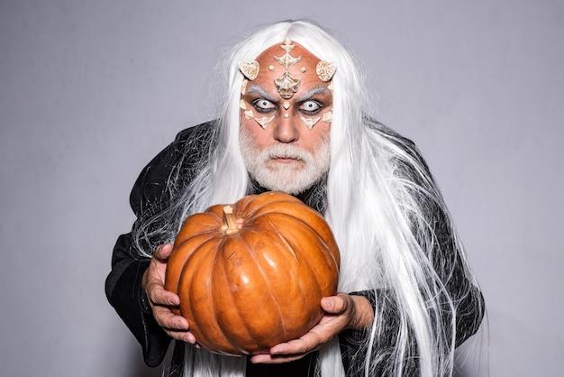 Horror halloween demon bearded man dressed like halloween monster vampire halloween concept horror w...