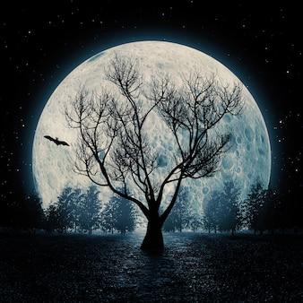 Ужас вид силуэт мертвого дерева на фоне голубого неба большой луны. 3d рендеринг