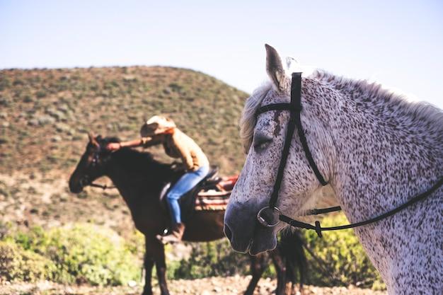 人間や人との友情の中での馬と動物のライフスタイル。山でのアウトドアレジャー活動