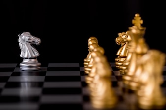 Horse chess set with enemy background