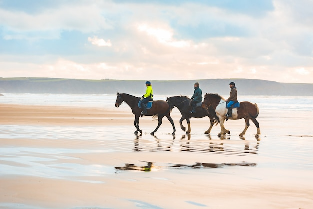 Horse riding on the beach at sunset in wales