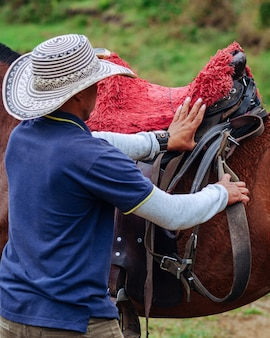 Дрессировщик лошадей надежно фиксирует седельные ремни Premium Фотографии