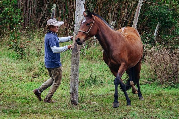 Дрессировщик лошадей быстро кружится с кобылой