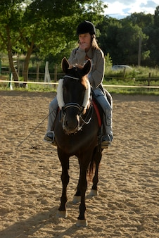 Horse and woman in dressage