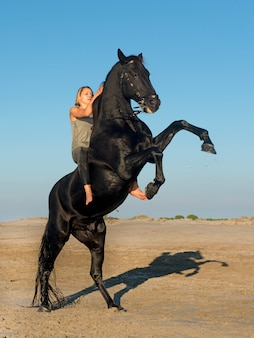 Horse woman and stallion