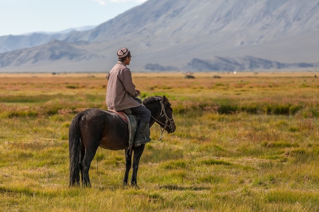 Horseback in the mongolian landscape. altai, mongolian valley view