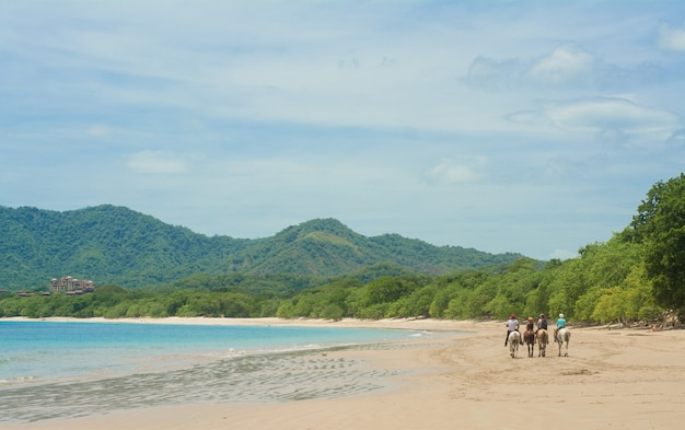 Horseback riding at the beach in costa rica