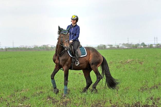 Horseback riding in the fresh air.