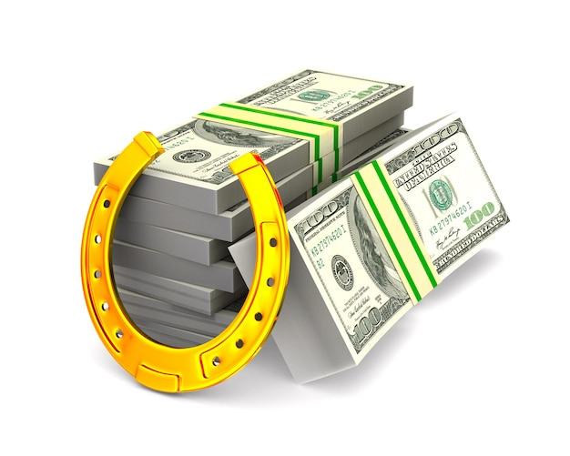 馬蹄形と空白のお金。分離された3dイラスト