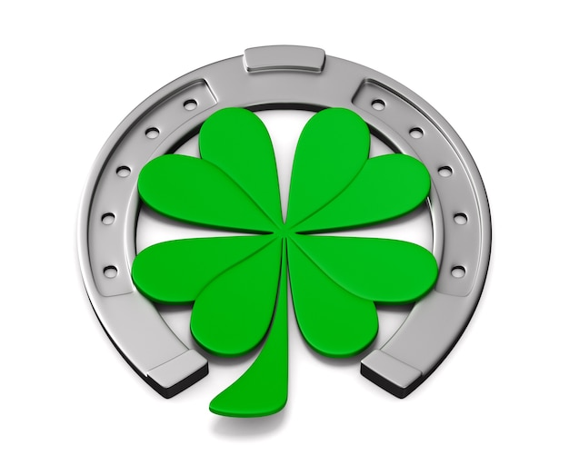 Horseshoe and clover on white space. isolated 3d illustration