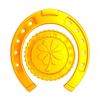Horseshoe and coin on white space. isolated 3d illustration