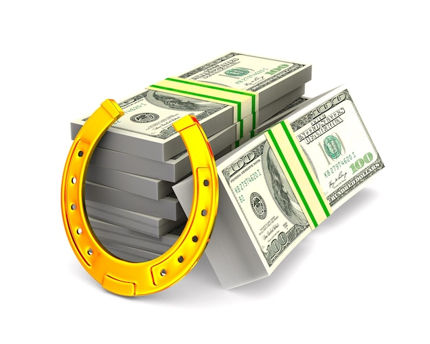 Horseshoe and money on white space. isolated 3d illustration Premium Photo