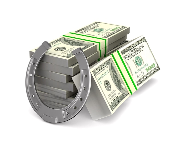 Horseshoe and money on white space. isolated 3d illustration