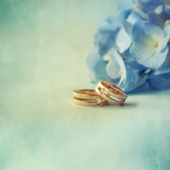 Hortensia flower with wedding rings