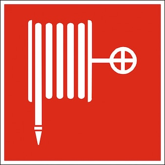 Hose icon fire sign fire extinguisher symbol