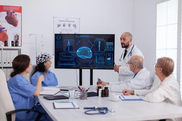 センサー付きヘッドセットを使用して脳活動研究を行う病院医療チーム