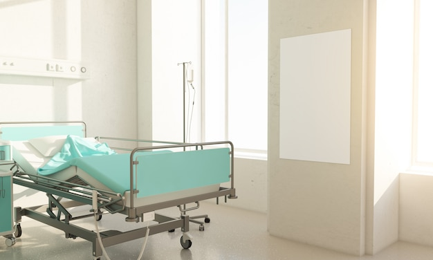 Hospital room with blank poster