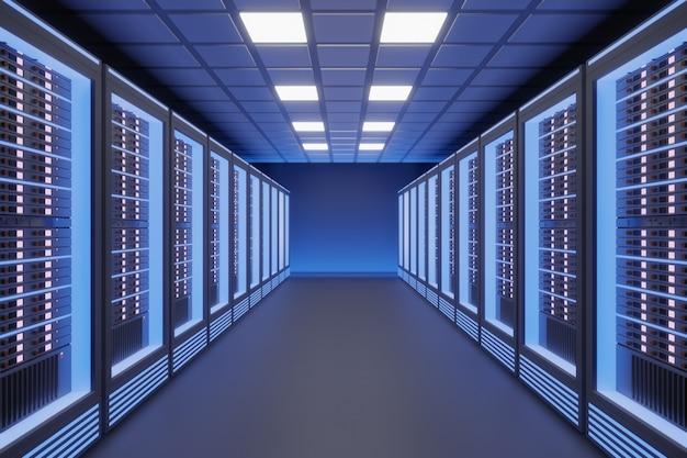 黒色をテーマにした青色のライトを備えたホスティングサーバーのコンピュータールーム。 3dイラストレンダリング。