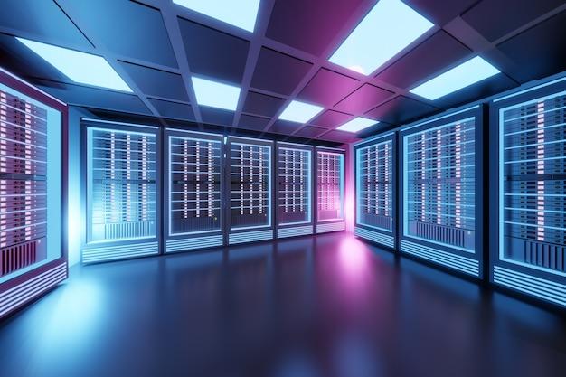 黒色をテーマにしたピンクブルーのライトが付いたホスティングサーバーのコンピュータールーム。 3dイラストレンダリング。