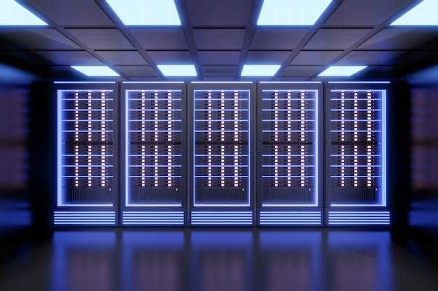 黒い色のテーマで青い光でホスティングサーバーのコンピューターの行。 3dイラストレンダリング。