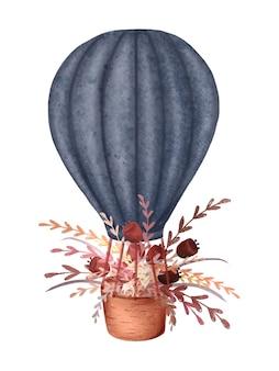 Воздушный шар с красными цветами. романтический стиль