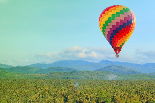 Hot air balloon on blue sky