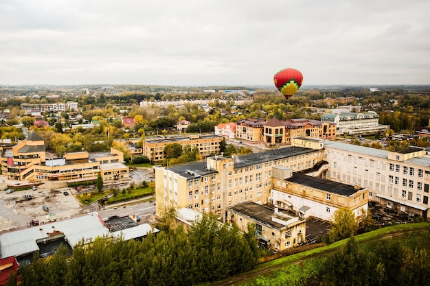 Hot air balloon over the city