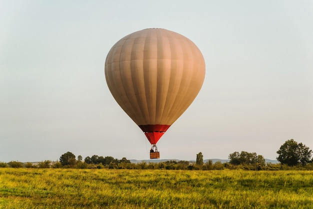 Hot air balloon in clear blue sky low over green glade