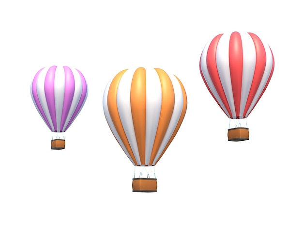 Воздушный шар, красочный аэростат, изолированные на белом. 3d иллюстрация