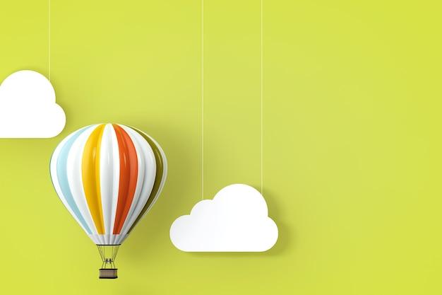 緑の背景の前に熱気球。 3dレンダリング