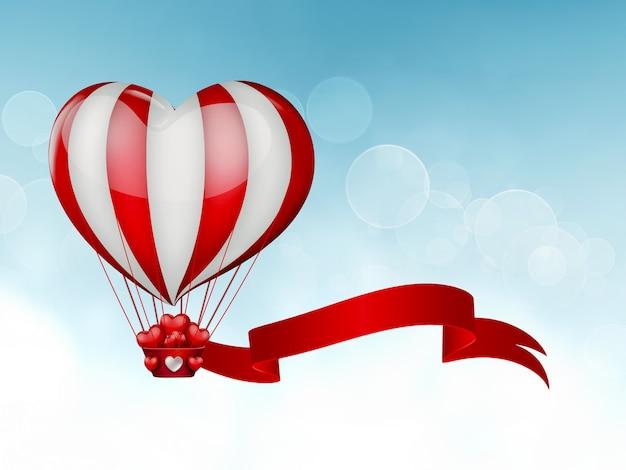 Воздушный шар в форме сердца в небе