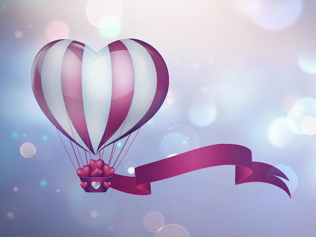 空にハートの形をした熱気球