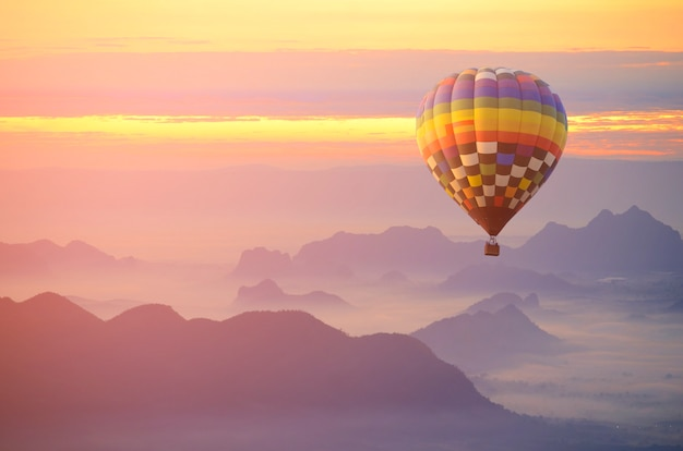 Hot air balloon over the sea of mist.