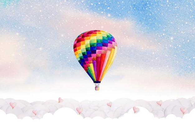 空の雲にカラフルな熱気球の水彩画