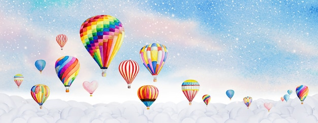 Hot air balloon watercolor painting landscape panorama illustration on paper and shine light