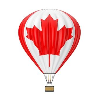 白い背景の上のカナダの旗と熱気球。 3dレンダリング