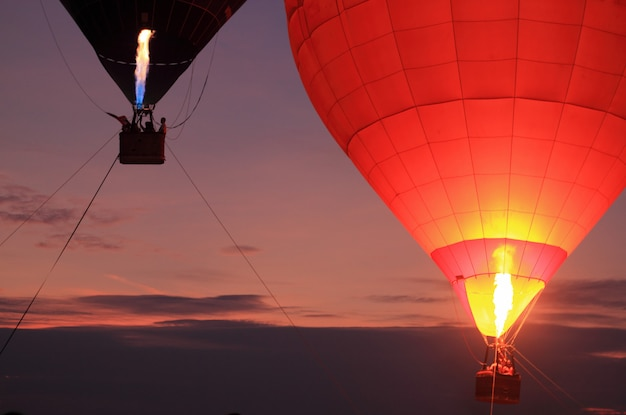 Hot air balloon with sunset sky
